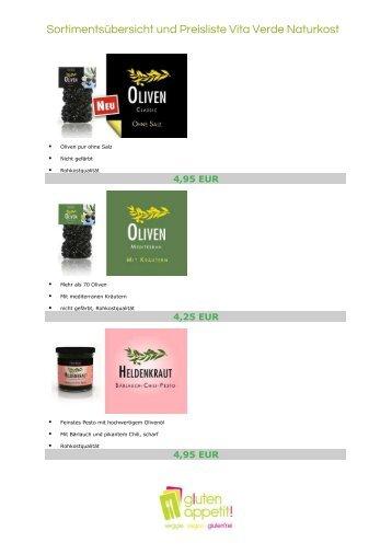 Sortimentsübersicht und Preisliste Vita Verde ... - gluten appetit