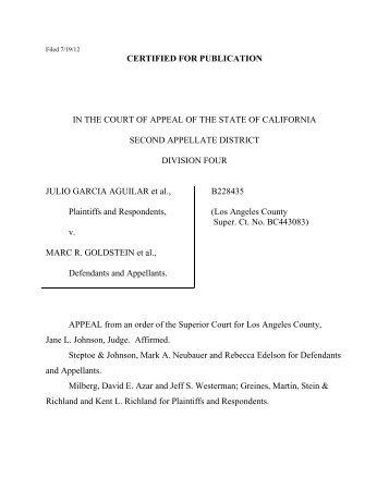 Aguilar v. Goldstein Opinion - Greines, Martin, Stein & Richland LLP