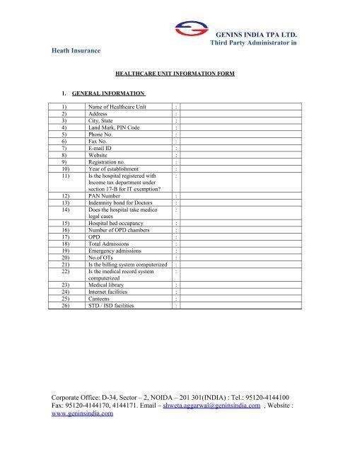 Information Sheet For Mou Genins India Tpa Ltd