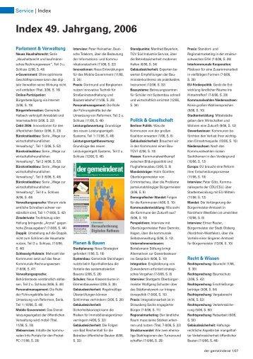 Index 49. Jahrgang, 2006 - Der Gemeinderat