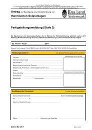 thermischen Solaranlagen Fertigstellungsmeldung (Stufe 2) - Gleisdorf