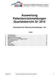 Auswertung Patientenbefragung Q1 2010 Externe