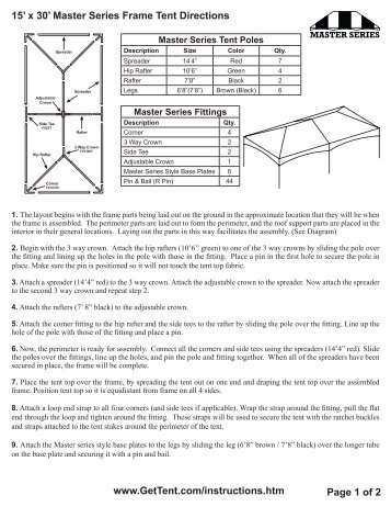 20\' x 30\' Master Series Frame Tent Directions www ... - Celina Tent