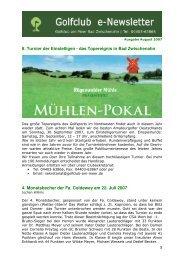 Newsletter August 2007 - Golfclub am Meer
