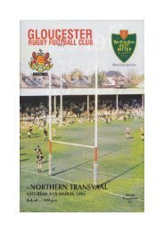 Gloucester v. Northern Transvaal - Gloucester Rugby Heritage