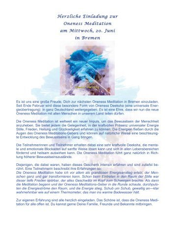 Herzliche Einladung zur Oneness Meditation am ... - ONENESS 24
