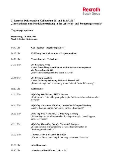 Agenda 3. Rexroth Doktoranden Kolloquium - Global Innovation