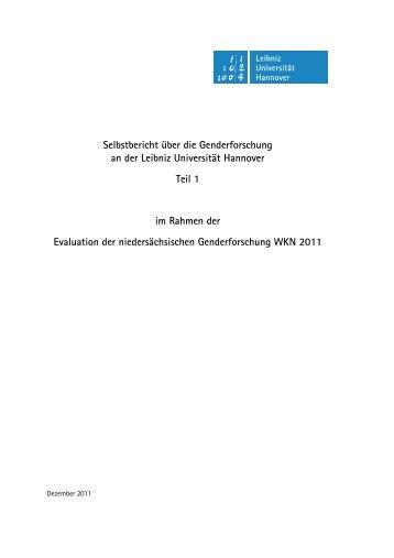 Selbstbericht über die Genderforschung an der Leibniz Universität ...