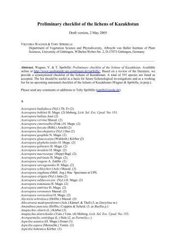 Preliminary checklist of the lichens of Kazakhstan