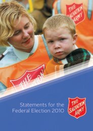 Statements for the Federal Election 2010 - Salvation Army