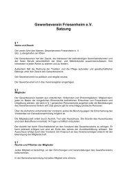 Gewerbeverein Friesenheim e.V. Satzung