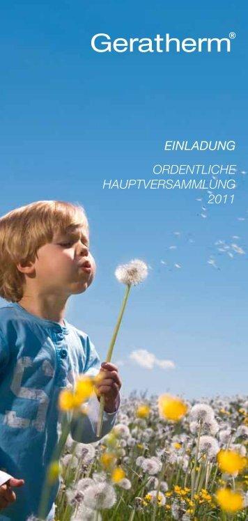 einladung ordentliche hauptversammlung 2011 - Geratherm