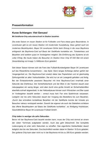 Presseinformation Kurze Schlangen: Viel Genuss! - GeldKarte