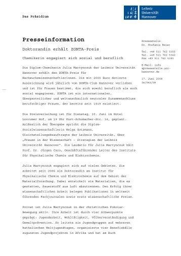 ZONTA-Preis - Gleichstellungsbüro der Leibniz Universität Hannover
