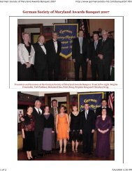 Pictures from the Banquet 2007 - German Society of Maryland