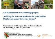 Abschlussbericht zum Forschungsprojekt - Gemeinde Senden