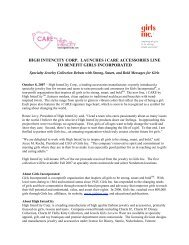 HIGH INTENCITY CORP. LAUNCHES i CARE ... - Girls Inc.
