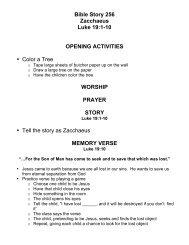 Bible Story 256 Zacchaeus Luke 19:1-10 OPENING ACTIVITIES ...