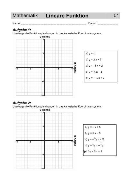 Mathematik Lineare Funktion - Gegenschatz.net