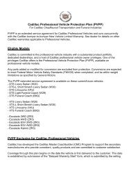 Cadillac Professional Vehicle Protection Plan (PVPP) - GM Fleet