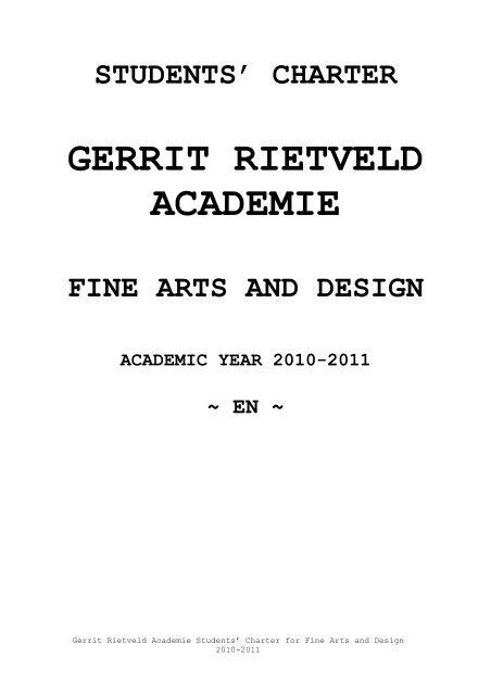 academic year 2010-2011 - Gerrit Rietveld Academie