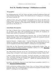 Prof. Dr. Matthias Schnettger - Publikationsverzeichnis