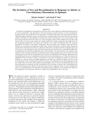 The Evolution of Sex and Recombination in Response to ... - Genetics