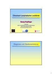 Chronisch lymphatische Leukämie Diagnose und Stadieneinteilung