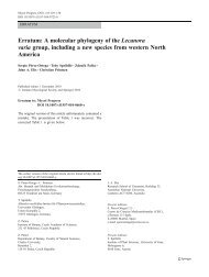 Erratum: A molecular phylogeny of the Lecanora varia group ...
