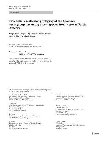 Erratum: A molecular phylogeny of the Lecanora varia group ...