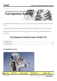 Fuel Injection Pump Product Model List - Giordano Benicchi