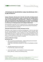 Pressemitteilung - Gesundheitsforen Leipzig GmbH