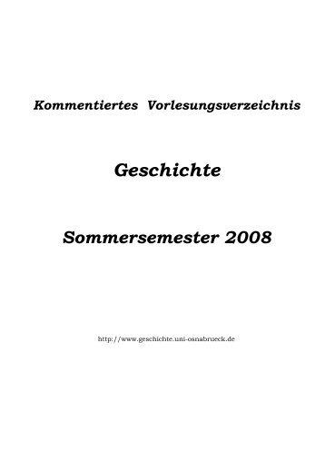 Das kommentierte Vorlesungsverzeichnis Sommersemester 2008 ...