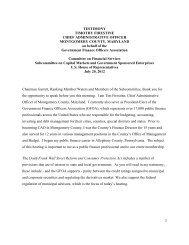 Firestine Testimony, July 2012 - Government Finance Officers ...