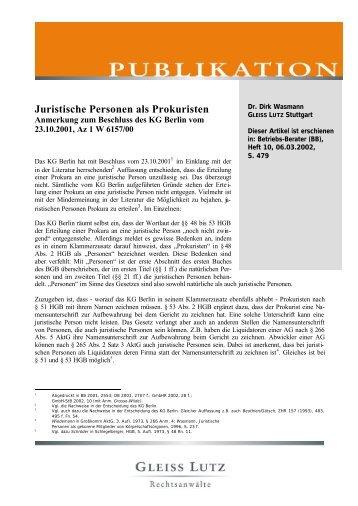 Juristische Personen als Prokuristen - Gleiss Lutz