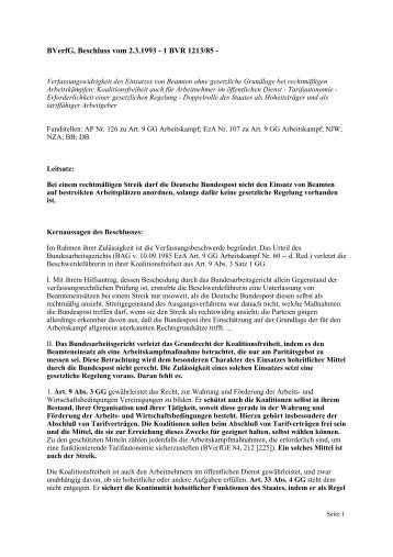 BVerfG, Beschluss vom 2.3.1993 - 1 BVR 1213/85 - - GEW