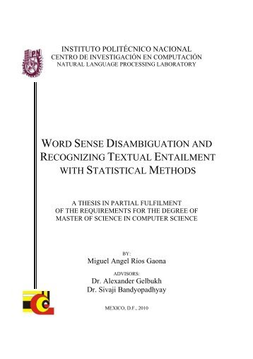 word sense disambiguation and recognizing textual entailment with ...