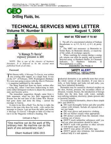 a message to garcia geo drilling fluids inc