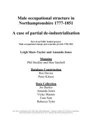 Male occupational structure in Northamptonshire 1777-1851 A case ...
