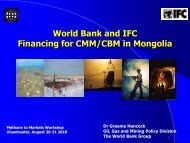 World Bank and IFC Financing for CMM/CBM in Mongolia
