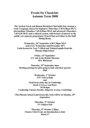 Events for Classicists Autumn Term 2008 - The Godolphin and ...