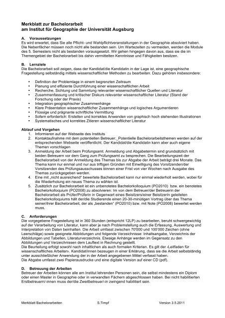 Merkblatt Zur Bachelorarbeit Am Institut Für Geographie