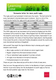 Persuasive letter for more youth rugby - Gloucester Rugby Heritage