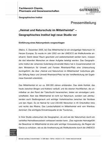 Pressemitteilung - Geographisches Institut - Johannes Gutenberg ...