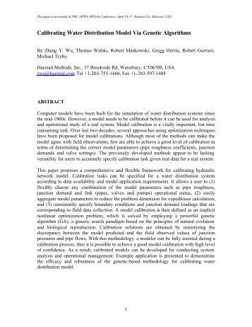 Calibrating Water Distribution Model Via Genetic ... - CiteSeerX