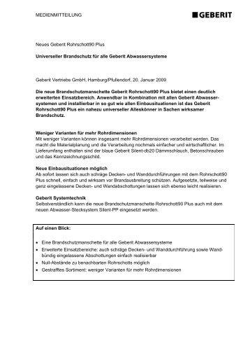 MEDIENMITTEILUNG Neues Geberit Rohrschott90 Plus ...