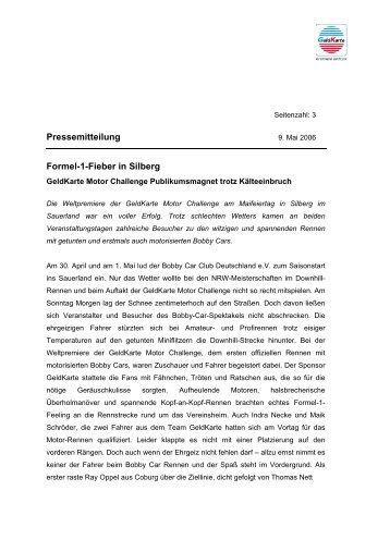 Formel-1-Fieber in Silberg - GeldKarte