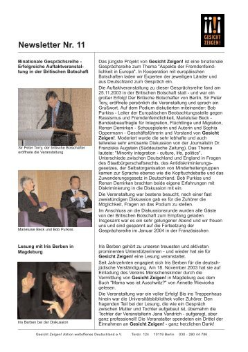 Newsletter Nr. 11 - Gesicht Zeigen!