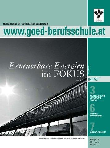 Erneuerbare Energie - Bundessektion 12 Berufsschullehrer