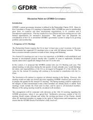 Discussion Points on GFDRR Governance